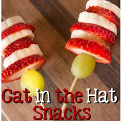 Insanely simple and absolutely delicious, these cute Dr. Suess-themed snacks require nothing more than a few wooden kebob sticks. Get the recipe from A Mom's Take.