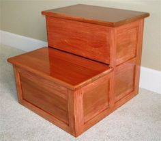 My wife asked me to make a bedside step stool for her Mom on a recent visit to our home. The project is made from faux cherry finished alder and Brazilian cherry trim.