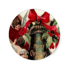 CHRISTMAS STICKER - CHRISTMAS BELL WITH CHERUBS