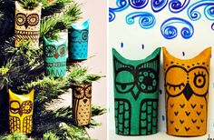 Are these owl ornaments cute or what? They're actually just cardboard toilet paper rolls, painted in bright colors and decorated with black permanent markers. One end of the roll is simply pinched to create the owl's 'ears' – a fun and easy project for both kids and adults.