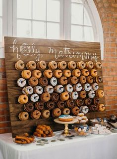 26 Inspiring Chic Wedding Food & Dessert Table Display Ideas okay but how cute and cheesy is this. We can even get them from lickin good donuts Chic Wedding, Dream Wedding, Wedding Day, Trendy Wedding, Wedding Foods, Wedding Food Bar Ideas, Wedding Planning, Wedding Puns, Table Wedding