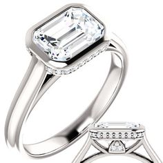 Love this east west Emerald cut Bezel Engagement Ring.