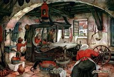 Spinning and Weaving - Anton Pieck, Dutch painter, artist and graphic artist. Anime Comics, Anton Pieck, Kirigami, Dutch Painters, 3d Prints, Dutch Artists, Art Themes, Online Gratis, Art Images