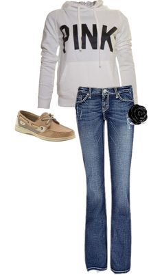"""""""PINK with BKE Jeans"""" by katyjomorgan on Polyvore"""
