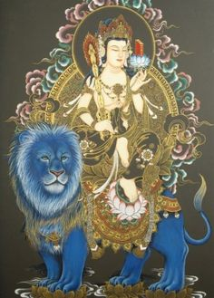 Mañjuśrīriding on a blue lion…  Mañjuśrī is depicted as a male bodhisattva wielding a flaming sword in his right hand, representing the realization of transcendent wisdom which cuts down ignorance and duality. The scripture supported by thelotusheld in his left hand is a Prajñāpāramitā sūtra, representing his attainment of ultimate realization from the blossoming of wisdom. Mañjuśrī is often depicted as riding on a bluelion, or sitting on the skin of a lion.