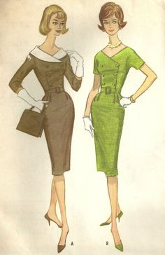60s Dress Vintage Sewing Pattern, Slim Skirt, Wide V Neck with Collar, Belted, Sleeves, McCall's 5628, Size 10, Uncut by MaisonMignot