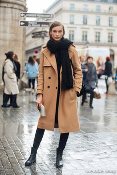 street style, fall winter, black scarf, camel trench coat, camel outerwear, black jeans, booties, ankle boots