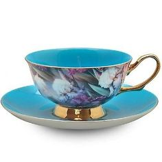 Satin Shelley Style Turquoise Bone China Tea Cup & Saucer Set by Grace Teaware