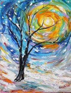 Original oil painting SNOW Winter LANDSCAPE by Karensfineart
