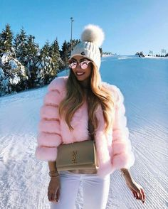 Pink fur white jeans