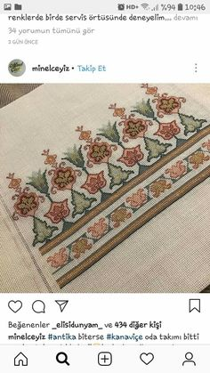 Harika Hand Embroidery Videos, Folk Embroidery, Cross Stitch Embroidery, Cross Stitch Borders, Cross Stitch Patterns, Palestinian Embroidery, Contemporary Embroidery, Bargello, Blackwork