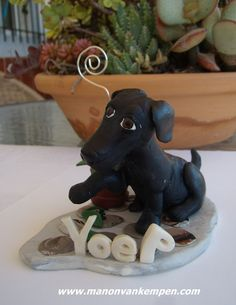 polymer clay custom labrador dog sculpture.