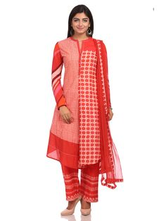 Shop Red Flared Cotton Suit Set online at Biba.in - SKD4528RED