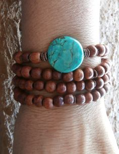 Inner Calm Basic Mala wrap or necklace with Turquoise Guru bead & Rosewood Yoga Bracelet, Reiki. free shipping. $32.00, via Etsy.