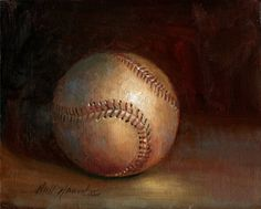 Classic Leather Baseball by Hall Groat II - simple subject, painted beautifully. Learn to paint like this in Hall's DVDs at  http://hallgroat.com/products/oil-painting-for-beginners/?utm_content=buffer0ed87&utm_medium=social&utm_source=pinterest.com&utm_campaign=buffer