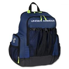 Under Armour Striker Backpack NAVY Exterior draw cord mesh pocket holds soccer ball, volleyball or basketball Embroider team logos on the front panel Cleat tunnel HeatGear ergonomic shoulder straps HeatGear padded back panel Soccer Cleats, Soccer Players, Soccer Ball, Basketball Shoes, Soccer Scores, Live Soccer, World Soccer Shop, Soccer Gifs, Backpacker