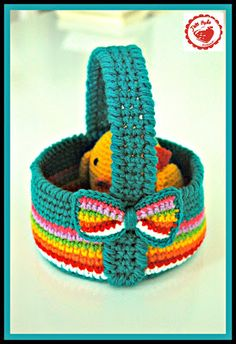 Jam made: Coming soon! Free pattern for this colourful Easter basket