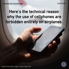 Here's the technical reason why the use of cellphones are forbidden entirely on airplanes. #informationtechnology #cellphone #telecommunications #airplane #flightmode #network #facts #Factionary Information Technology, Airplanes, Did You Know, Facts, Planes, Aircraft, Computer Technology, Plane