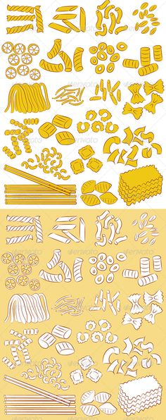 Pasta Vector  #GraphicRiver         Vector illustration of a selection of different kinds of pasta