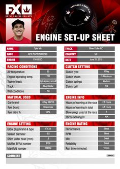 Check out & inspire with Team FX factory driver Tyler Vik's #FX engine set-up sheet from 2015 ROAR Championship. #RCcar