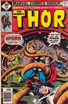 The Mighty Thor #256 Feb '77 John Buscema Pencils & Cover Art. Len Wein Story. The Recorder arrives to aid the Asgardians in their quest. They come across a monstrous derelict starship and decide to investigate.