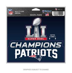 Wincraft New England Patriots Super Bowl LI Multi-Use Decal at The Paper Store