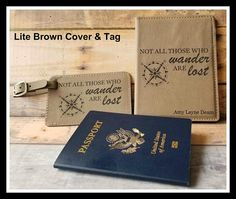 Passport Cover and Luggage Tag Set Leatherette Leather Personalized Bride Groom Gift Anniversary Christmas Travel Gift Passport Cover and L Bride And Groom Gifts, Bride Groom, Engraved Picture Frames, Gift Sets For Women, Travel Gifts, Travel Items, Handmade Shop, Etsy Handmade, Handmade Gifts