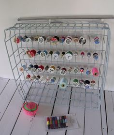 Repurposed dishwasher rack   @Stephanie Vandal...could paint for a fun pop of color;)