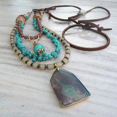 Collier Boho Multi rangs Rustic collier perlé Triple ligne