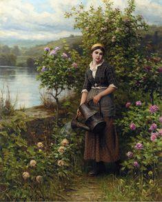 Schilderij van Daniel Ridgway Knight. Painting of Daniel Ridgway Knight.  Watering the Garden, 1912