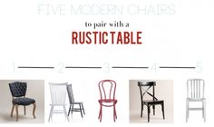 updating a rustic table with modern chairs