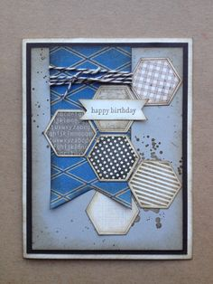 Stampin' Up! Stampin' Sisters crafty card class Masculine birthday card, six-sided sampler, hexagon