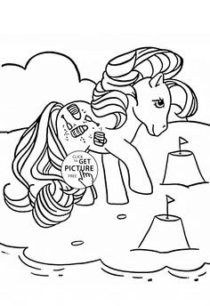 Pony on the Beach coloring page for kids, for girls coloring pages printables free - Wuppsy.com