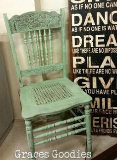 Spindle back chair painted in a mix of Provence, Chateau Grey,  Old White and a dash of Antibes Green Chalk Paint ™ decorative paint by Annie Sloan. #gracesgoodies