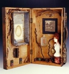 Precious Opportunity, artwork by assemblage artist Becki Smith, vintage and antique mixed media box assemblage with antique doll, roots, enamel pan    CP, EC, KD