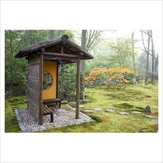 outdoor bench with covered seating | GAP Photos - Garden & Plant Picture Library - Bench in Japanese garden ...