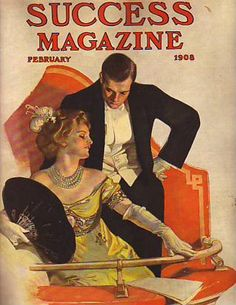 Vintage cover of Success Magazine's Feb 1908 issue, by famed illustrator JC Leyendecker