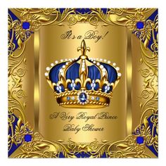 Prince Royal Blue Baby Shower Boy Regal Gold 3 Invitation