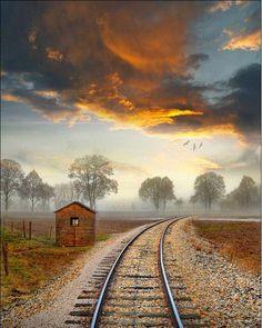 Train station, Alsace, France I like trains. Beautiful World, Beautiful Places, Beautiful Sky, Trains, France Photos, All Nature, Train Tracks, Belle Photo, Beautiful Landscapes