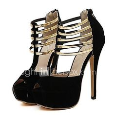 Mujer-Tacón Stiletto Plataforma-Plataforma Tira en TVestido Fiesta y  Noche-Vellón-Negro Rojo. Classy cage peep toe platform stiletto high heels  ... 36c7fdd8494f7