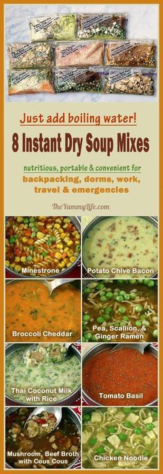 Just add boiling water for 8 instant, nutritious soups that are perfect for backpacking, camping, dorms, office, travel, and emergencies. A better, homemade, DIY cup-a-soup. From TheYummyLife.com #backpackingmealsdiy