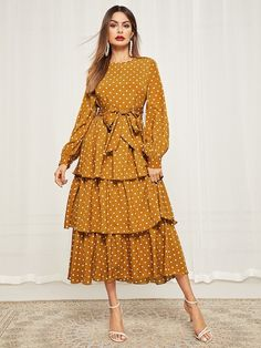 Elegant A Line Polka Dot Layered/Tiered Loose Round Neck Long Sleeve Bishop Sleeve Natural Yellow Long Length Polka Dot Self Belted Layered Hem Dress with Belt Modest Dresses, Elegant Dresses, Casual Dresses, Women's Fashion Dresses, Dress Outfits, Looks Style, Dot Dress, Polka Dot Maxi Dresses, Dress Patterns