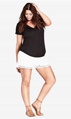 Shop Women's Plus Size Lace Overlay Short   City Chic USA