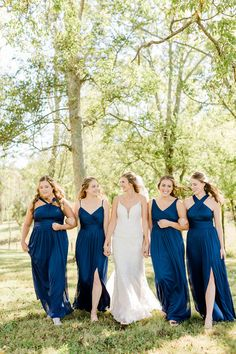 Long navy blue bridesmaid dresses with mismatched styles. Perfect for any season! Wedding Hair And Makeup, Hair Makeup, Wedding Dreams, Dream Wedding, Navy Blue Bridesmaid Dresses, Wedding Attire, Big Day, Fall Wedding, Wedding Hairstyles