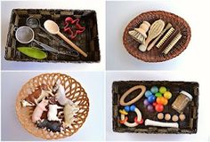"""Baby and Infant Treasure Baskets / sensory baskets, Montessori inspired. List and links to various treasure basket ideas from """"Chalkboards To Strollers"""" Montessori Baby, Montessori Education, Montessori Materials, Montessori Activities, Infant Activities, Activities For Kids, Baby Education, Toddler Play, Baby Play"""