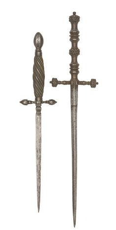An Italian Stiletto - 17th Century. With sharply tapering blade of stiff diamond section with moulded ricasso, hilt comprising baluster quillons with faceted bud-shaped tips, faceted ovoidal pommel, and swelling writhen horn grip bound with twisted iron wire; together with a medieval dagger in excavated condition, 14th/late 15th century.