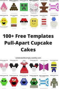 Over 200 Free pull-apart cupcake cake templates Lego Cupcakes, Easter Cupcakes, Birthday Cupcakes, Ladybug Cupcakes, Fruit Birthday, Kitty Cupcakes, Snowman Cupcakes, Giant Cupcakes, Third Birthday