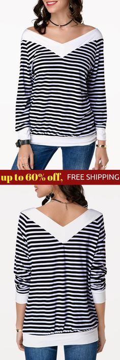Long Sleeve V Back Striped Sweatshirt Hoodies, Sweatshirts, Winter Outfits, Autumn Fashion, Coat, Long Sleeve, Casual, Jackets, Clothes