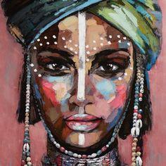 East Urban Home Desert Lady in a Turban Size: 120cm H x 90cm W x 3.5cm D Black Art Painting, Black Artwork, Painting Prints, Canvas Prints, Collage Kunst, Collage Art, Portrait Acrylic, Portrait Art, Portraits