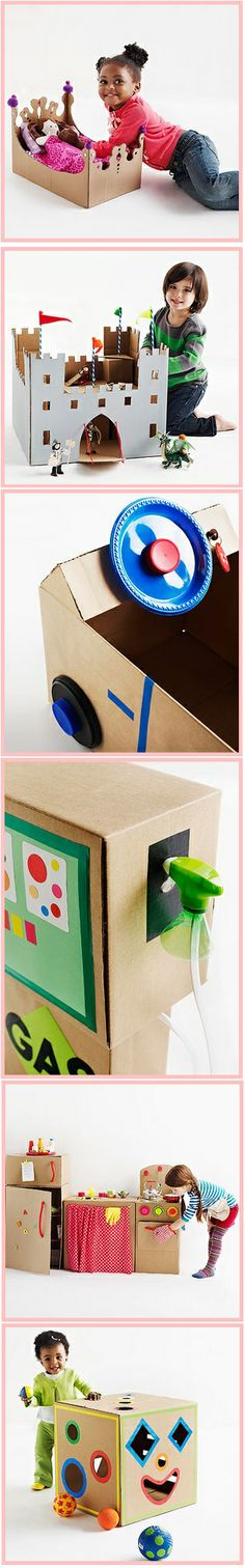 1 grande boite en carton = un lit de poupée/ un château fort / une voiture et sa pompe à essence / une cuisine / une boite à forme !!! Tutorials on Cardboard box crafts! (castle, doll bed, gas pump, kitchen, and shape sorter!) #upcycling